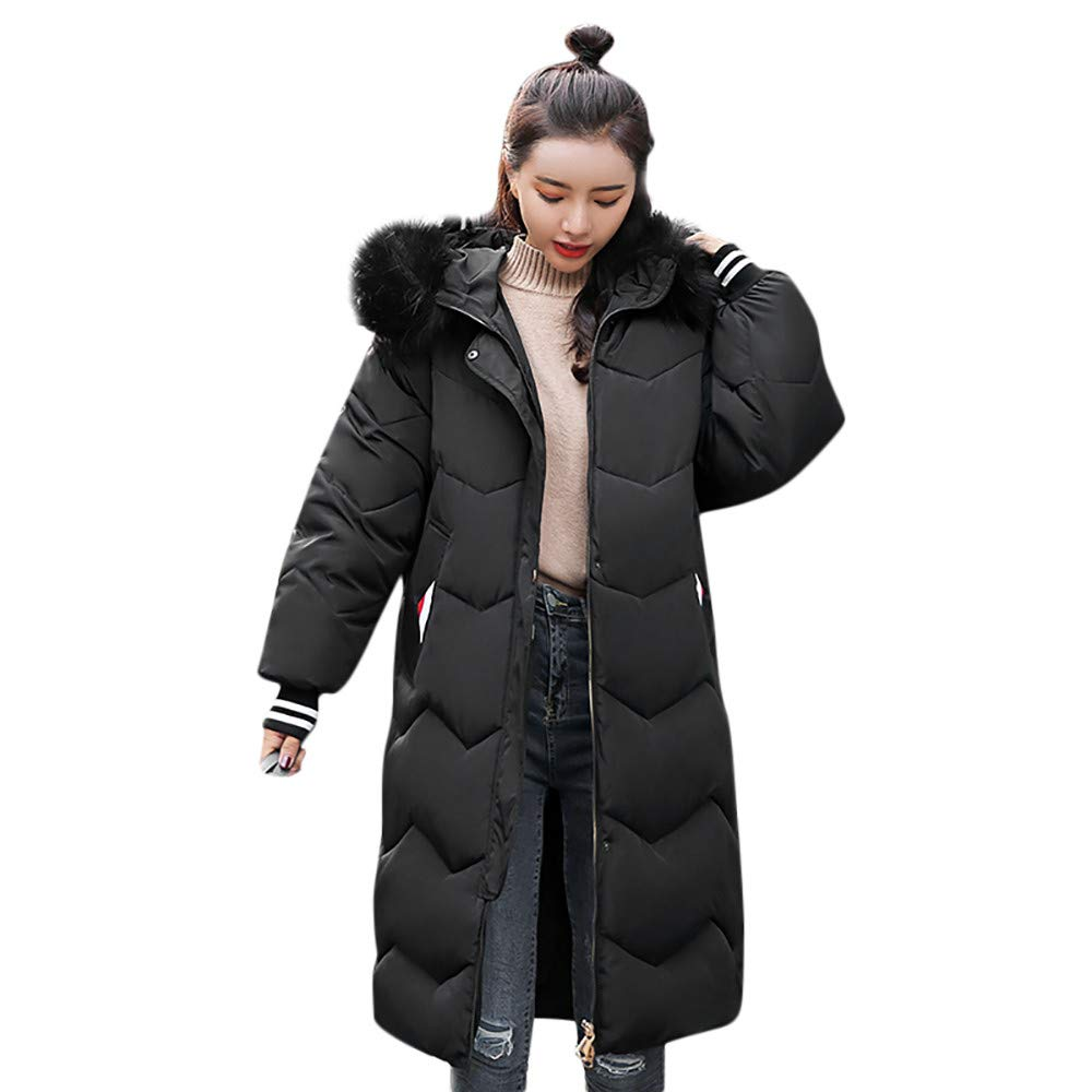 Women Jackets Winter Warm Button Zipper Long Cotton-Padded Pocket Fur Hooded Coats by Dacawin