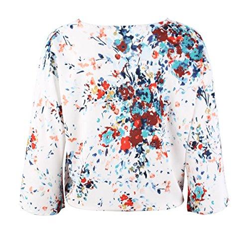 avec Ceinture Bleu De T Imprim Col Vintage en V Shirt Femmes Femme Mousseline Casual Soie Chemise Chemisier Fleur Mode CqCTHwZ