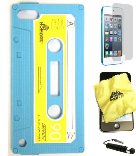 Baby Blue 3D Cassette Tape Silicone Case for Ipod Touch 5/6 + Cleaning Cloth + Screen Protector + Metallic Touch Pen