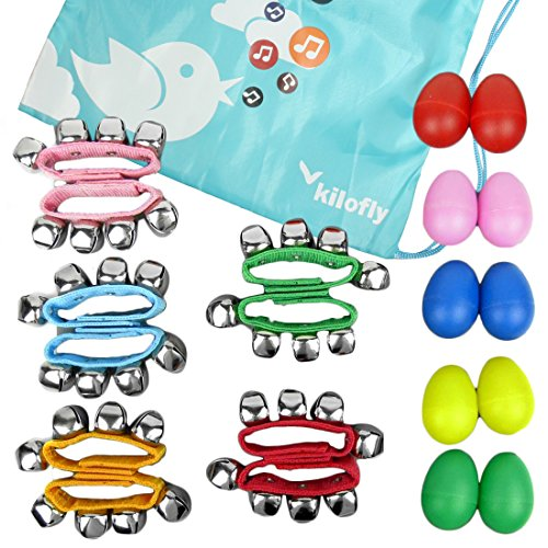 (kilofly Musical Instruments Rhythm Toys Value Pack 10 Maracas & 10 Wrist Bells)