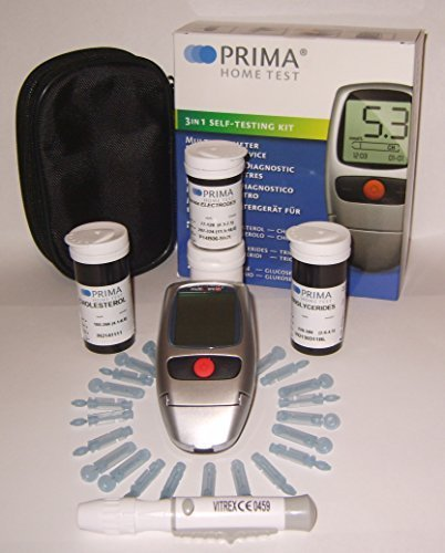 Prima Home Test 3 in 1 Cholesterol,Triglycerides,Glucose Complete Self Testing Kit by Prima by Prima