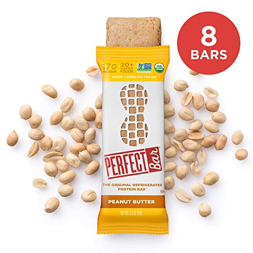 Perfect Bar Original Refrigerated Protein Bar, Peanut Butter, 17g Whole Food Protein, Gluten Free, Organic and Non-GMO, 2.5 Oz. Bar (Box of 8)