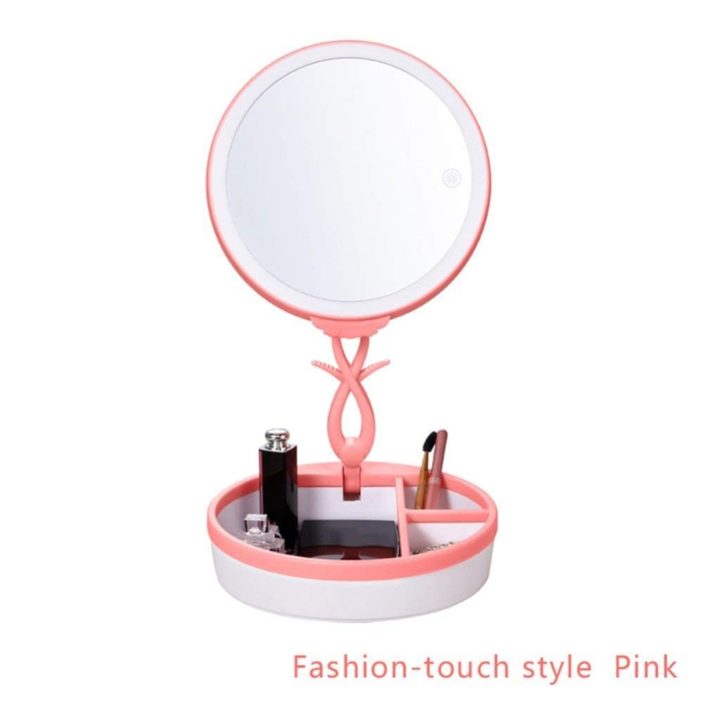 WFDLIU Makeup Mirror LED Lighted,Foldable Brightness Angle Adjustable USB Rechargeable Portable for Travel Bathroom to Women,Pink