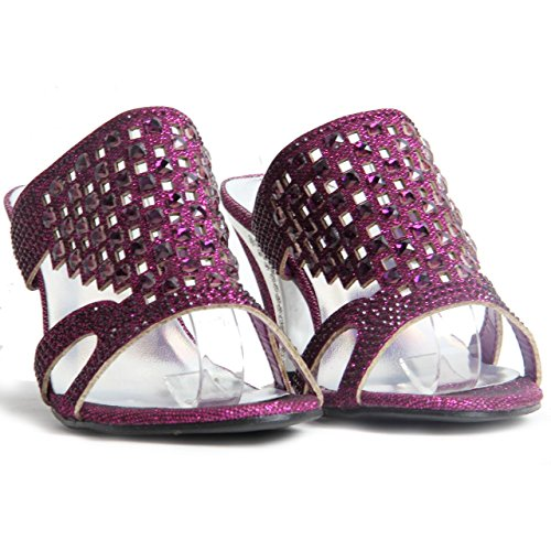 All In One London Womens Ladies Sparkling Diamante Block Heel Party Shoes Slip On Sandals Purple tozeb