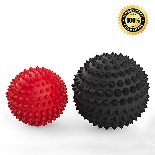 Massage Ball 2 PACK - Spiky Massager Roller Balls - Plantar Fasciitis, Deep Tissue Foot, Back, Shoulder, Legs, Muscle Therapy - Best Porcupine for Acupressure & Myofascial (2 Pack)