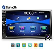 "Car Stereo - Double Din Car Radio Multimedia GPS Navigaiton 7"" Touch Screen Car Stereo with Bluetooth, Backup Camera/MP5 Player/TF/USB/FM +Remote Control by Podofo"