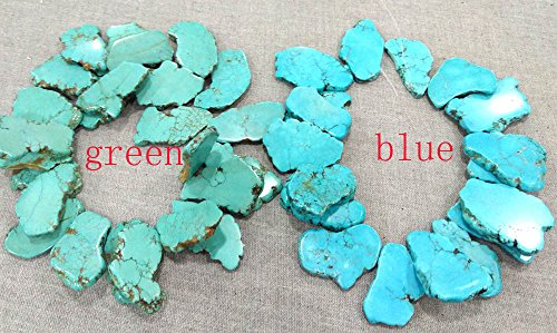 10pcs Turquoise Magnesite Statment Slab Freeform Flat Pebble Drop Pendant Beads Green Blue Gemstone 20-50mm -top Drilled