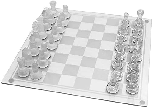 Techno Buzz Deal Solid Crystal Chess with Checker Board Set Matte and Clear Glass Chess Game