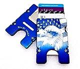 EAGLE AMERICAN FLAG, BILLET ALUMINUM WALLET/CREDIT CARD HOLDER, RFID BLOCKING, BLUE