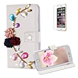Funyye Diamond Wallet Cover for iPhone 6,Luxury 3D Flower Leaves Design Crystals Bling Magnetic Flip Case Kickstand Feature Card Slots Soft Silicone PU Leather Case for iPhone 6/6S