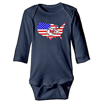 U9 6-24 Months Newborn Babys Boy's & Girl's Kansas City Flag Logo Chiefs Long Sleeve Bodysuit Baby Onesie Navy