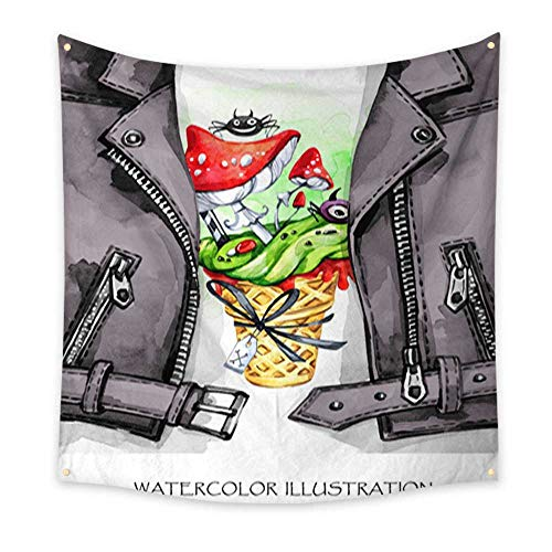 Tapestry Wall Hanging Watercolor fun illustration Halloween Hand painted leather jacket with print Waffle cone Amanitas with poisonous cream Rock style girl Ready for print poster greeting invitation -