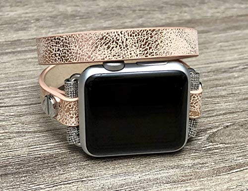 Double Wrap Sand Gold Vegan Leather Bracelet For Apple Watch All Series 38mm 40mm 42mm 44mm Handmade Unique Fashion Design Apple iWatch Band Adjustable Size Luxury Wristband Apple Watch Bracelet - Wrist Leather Brass Watch