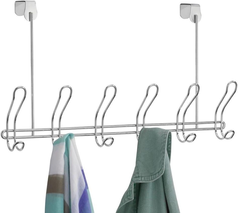 H/üte oder Handt/ücher kupferfarben T/ürgarderobe f/ür Jacken iDesign Garderobenleiste mit 6 Doppelhaken lange Hakenleiste aus Metall zum /über die T/ür h/ängen