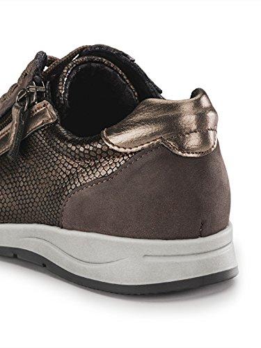 Damen Reißverschluss-Sneaker Glitzermix, Einfarbig Braun Gr. 41 Walbusch