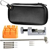 Watch Strap Pin Remover Tool, PEMOTech Wrist Watch Repair Tool Kit for Watchmakers, 1 Watch Band Link Remover with 3 Extra Pins, 1 Watch Band Holder with 1 Dual Head Hammer & 4 Push Pins,1 EVA Pouch