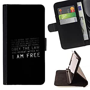 For Samsung Galaxy Note 3 III Freedom Quote Society Prison Conspiracy Beautiful Print Wallet Leather Case Cover With Credit Card Slots And Stand Function