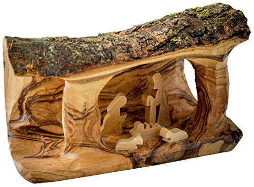 Grotto Carved in Branch Ornament, Small (Olive Wood Branch)