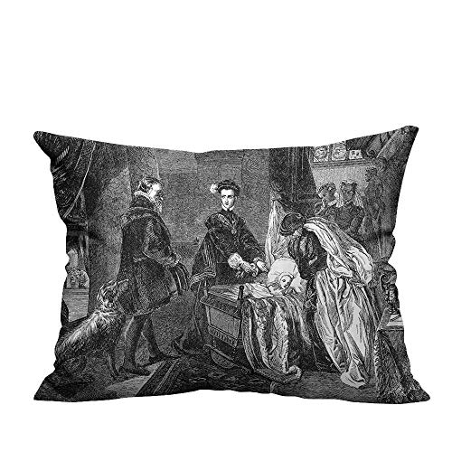 YouXianHome Decorative Throw Pillow Case Queen of Scots Leaving Stirling Castle AnSketch Crown Royalty Ideal Decoration(Double-Sided Printing) 19.5x60 inch ()