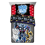 LO 2 Piece Kids Blue Black Transformers Comforter Twin/Full Set, Robotic Bedding Autobot Yellow White Grey Robots Heroes Auto Bots Pattern Movie Themed, Reversible Stripes Polyester
