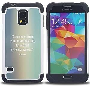 For Samsung Galaxy S5 I9600 G9009 G9008V - Confucius Quote Falling Get Up /[Hybrid 3 en 1 Impacto resistente a prueba de golpes de protecci????n] de silicona y pl????stico Def/ - Super Marley Shop -
