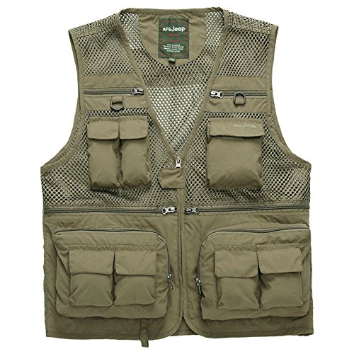 Cccken Men's Outdoor Military Multi Pockets Mesh Travel Coat Fishing Air Vest(868#Khaki US XS=Asia M) (Vest Fisherman)