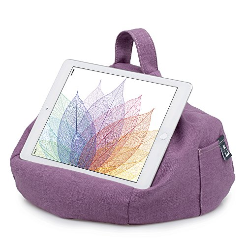 iPad Pillow & Tablet Stand - Securely Holds Any Size Tablet, eReader or Book Upto 12.9 inches, Hands Free Comfort at Any Angle on Any Surface - Purple, by iBeani