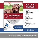 Flea and tick prevention for dogs, dog flea and tick treatment, 6 doses for dogs over 55 lbs, K9 Advantix II
