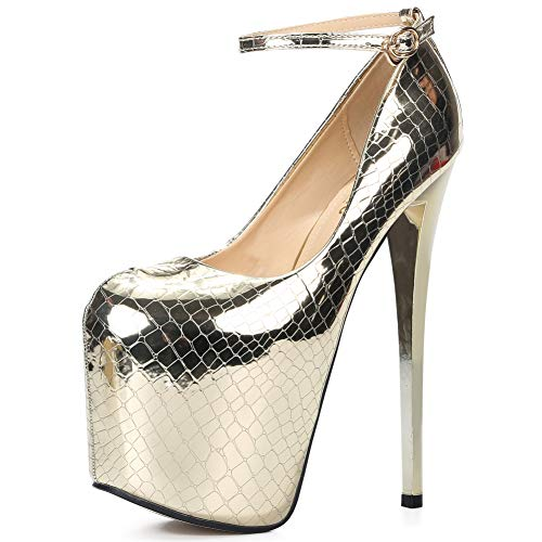 Womens Ankle Strap Platform Extrem High Heel Wedding Party Pumps B# Gold EU34