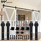 WINSOON Sliding Barn Wood Door Hardware Cabinet Closet Kit Antique Style for Double Doors Black Surface (15FT /180'' 2 Doors Track Kit)