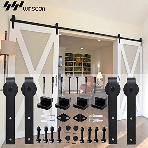 WINSOON 5-18FT Sliding Barn Wood Door Hardware Cabinet Closet Kit Antique Style for Double Doors Black Surface (15FT /180