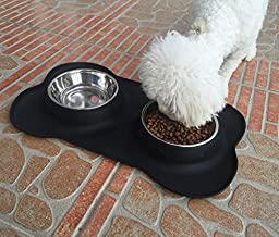 DELOMO Dog Bowls - Stainless Steel Cat Feeding Station - Pet Feeder Bowl - Set of 2 (12 OZ for Each Bowl) - with Bone Shape No Spill Non-Skid Silicone Mat - Perfect for Small Dogs & Cats & Pets
