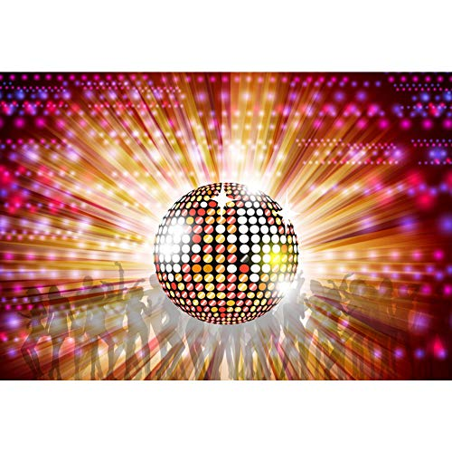 Renaiss 5x4ft Vinyl Disco Party Theme Photography Backdrop Disco Neon Ball Dancer Silhouette Shiny Lights 70s 80s 90s Family Adults Disco Theme Prom Party Decor Background Photobooth Props -