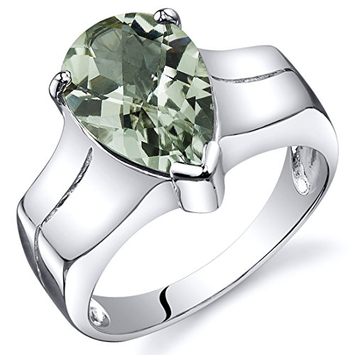 Green Amethyst Solitaire Ring Sterling Silver Pear Shape 2.50 Carats Size 5 -