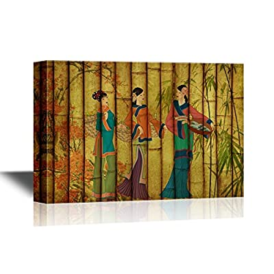 Chinese Culture Canvas Wall Art - Ancient Chinese Woman on Bamboo Style Background - Gallery Wrap Modern Home Art | Ready to Hang - 12x18 inches