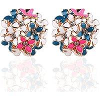 Ownsig Lady Charming Bloomy Clover Flowers Rhinestone Ear Stud Earrings Ornaments 2pcs Full Color