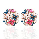 Banggood Lady Charming Bloomy Clover Flowers Rhinestone Ear Stud Earrings Ornaments 2pcs Full Color
