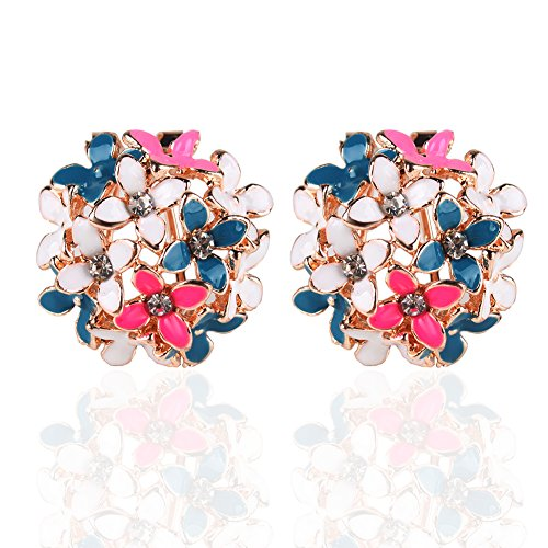 Clip Rhinestone Earrings Flower - Ownsig Lady Charming Bloomy Four Leaf Clover Flowers Rhinestone Ear Stud Earrings Multicolor
