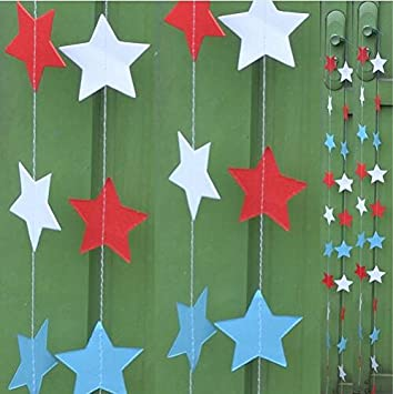 Blue, Red Since Pack of 4 Star Style Hanging Paper Garlands String Chainchristmas Decorations For Home Star Shape 2m Blue Or Blue Red Color