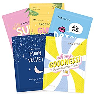 FaceTory Collection Facial Mask Set | For All Skin Types | Hydrating, Purifying, Soothing, Moisturizing, Revitalizing (5 Count)