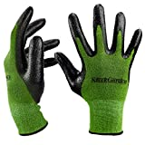 Bamboo Working Gloves for Women and Men.Ultra Grip, Nitrile Protective Coating Against Cuts Barehand Sensitivity Work Glove for Gardening, Fishing, Clamming, Mechanic, Restoration Work Thin Safety (green, large)