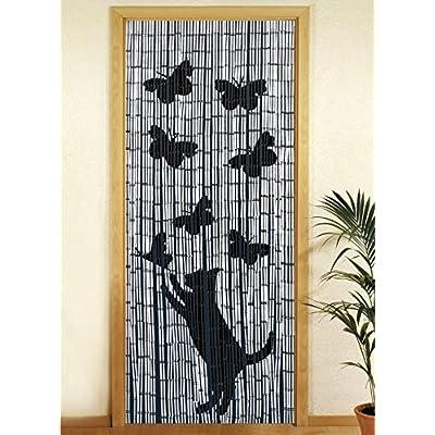 Wenko – Tenda richiudibile in legno di bambù, 90 x 200 cm Katze und Schmetterling
