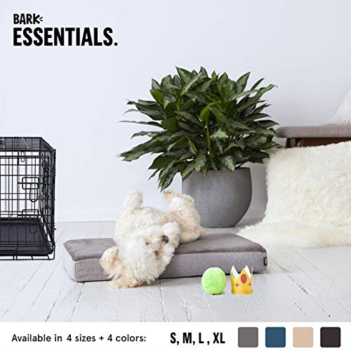 BarkBox Small Gray 3 Inch Tall Ultra Plush Orthopedic Memory Foam Dog Bed or Crate/Kennel Mat - Removable Washable Cover - Free - Orthopedic Crate Mat