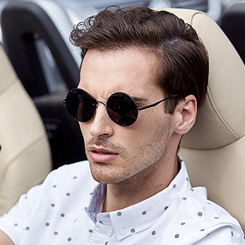 Sunglasses Round Frame Men's Polarized Glasses 100% Uv-Proof Outdoor Driving Mirror (Gray)