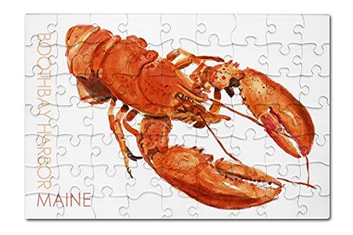 Watercolor Harbor - Boothbay Harbor, Maine - Lobster - Watercolor 96126 (8x12 Premium Acrylic Puzzle, 63 Pieces)