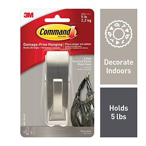 Command Large 5 lb Capacity Modern Reflections Metal Hook, Decorate Damage-Free, 1 hook, 2 strips (MR03-BN-ES) ()