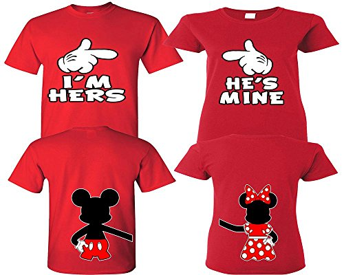 I'm Hers He's Mine Couple Shirts, Matching Couple Shirts, Disney His and Her Shirts Red - Red Man Medium - Woman Small
