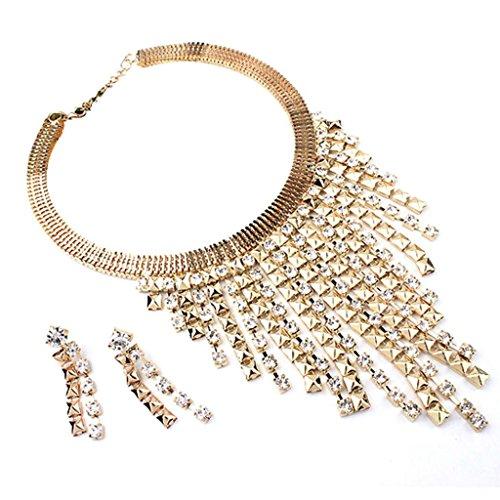 Necklace, Hatop Funky Long Tassel Chain Bling Rhinestone Tribal Jewelry Necklace Earrings Set