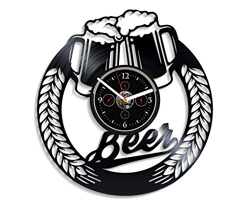 Kovides Beer Wall Clock Vintage Vinyl Record Retro Wall Clock Large Beer Art Exclusive Wall Clock 12 Inch Birthday Gift Beer Gift for Men and Woman New Year Gift Vinyl Wall Clock
