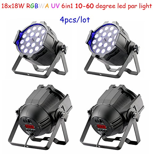 4pcs/lot zoom function 18x18w 6in1 RGBWA Uv led par light 10-60 degree